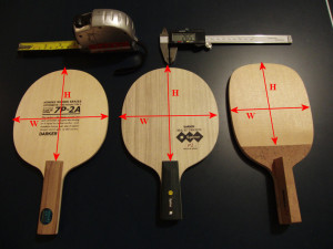 table tennis blade width and height